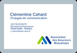 Carte visite Clémentine Cahard