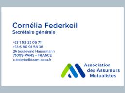 Carte de visite Cornélia Federkeil - secrétaire générale - AAM