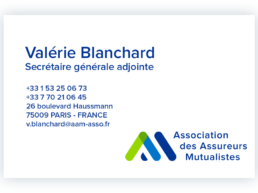 Carte de visite Valérie Blanchard - secrétaire générale adjointe -AAM